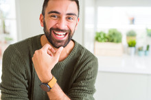 Handsome Man Smiling Cheerful With A Big Smile On Face Showing Teeth, Positive And Happy Expression