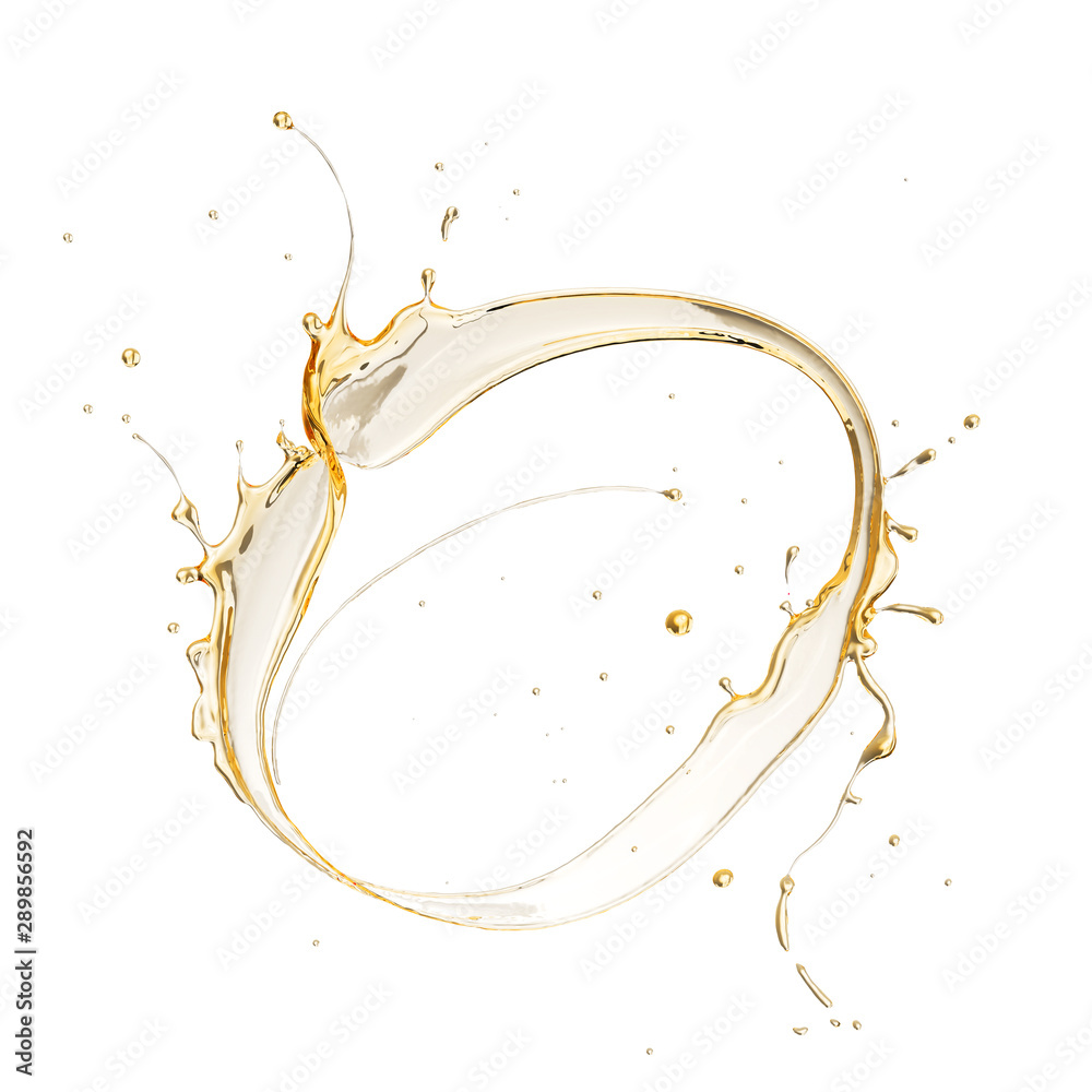 Fototapety, obrazy: Olive or engine oil splash isolated on white background, 3d illustration with Clipping path.
