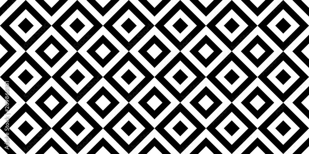 Fototapeta Vector geometric seamless pattern with rhombuses. Monochrome stylish texture.
