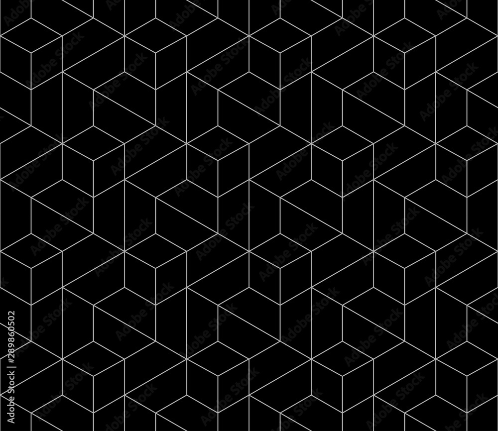Fototapeta Vector seamless cubic hexagon pattern. Modern stylish thin linear texture.
