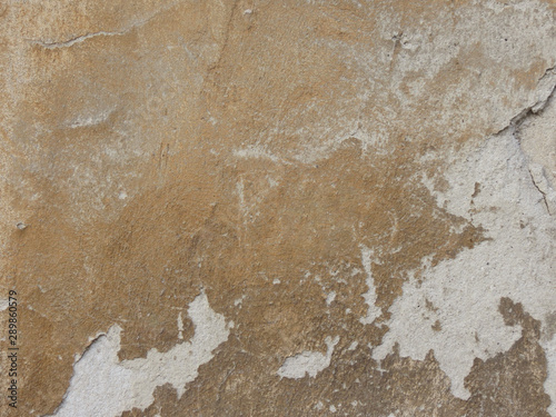 Poster Vieux mur texturé sale Yellow brown scratched worn concrete wall. Grunge wall background or web banner. Distressed old wall vintage color.