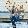 canvas print picture - Freude am See im Herbst
