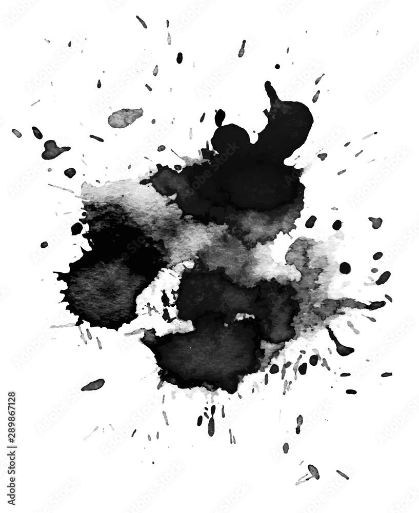 Fototapeta Black watercolor stain