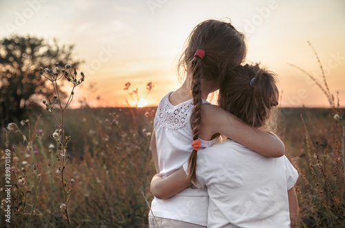 Two little sisters in a field at sunset. Canvas-taulu