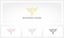 Outlines Of Women With Wings Logo