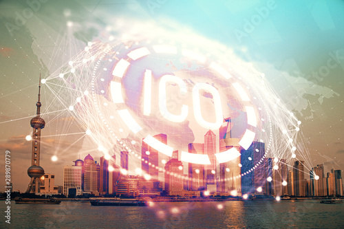 Foto auf AluDibond Shanghai Double exposure of crypto currency theme hologram drawing and city veiw background. Concept of blockchain and bitcoin.
