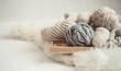Leinwanddruck Bild - cozy background Wallpaper with the yarn for knitting.
