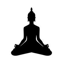 Yoga. Lotus Position Silhouette. Meditation Or Meditate Vector Illustration. Chakra Concept. Buddha Silhouette In Lotus Position. Buddhism Esoteric Motifs.