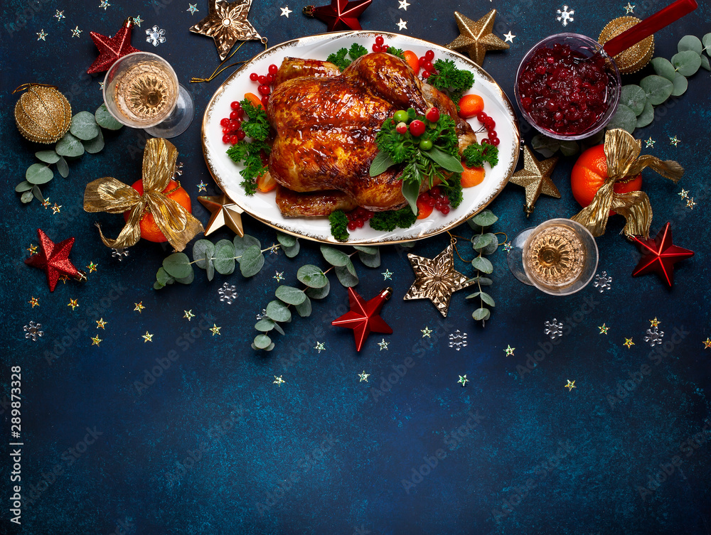 Fototapety, obrazy:  Concept of Christmas or New Year dinner. Top view.