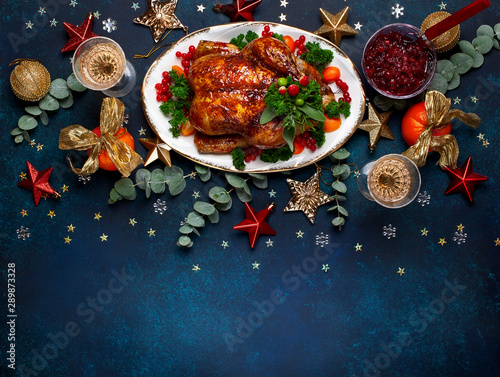Concept of Christmas or New Year dinner. Top view. - 289873328