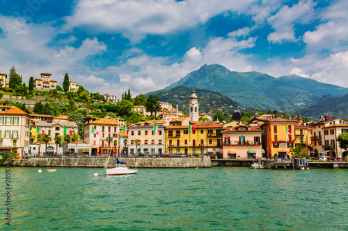 Poster de jardin Europe Méditérranéenne Menaggio town seen from the Lake Como, Lombardy region, Italy