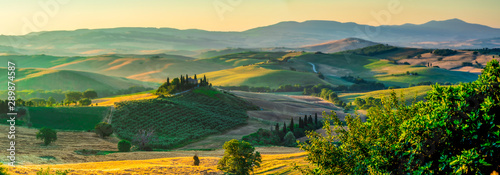 Fototapety, obrazy: Wide Landscape panorama with Podere Belvedere in Tuscany, Italy, Summer