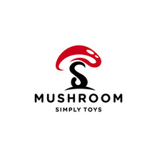Illustration Of Abstract Mushroom Made Cartoon With A Stalk Like The Letter S