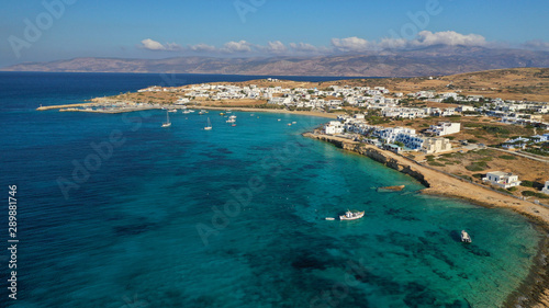 Garden Poster Napels Aerial drone photo of famous sandy turquoise beach of Ammos and main port of Koufonisi island, Small Cyclades, Greece