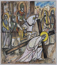 3rd Stations Of The Cross, Jesus Falls The First Time, Church Of Saint Matthew In Dugave, Zagreb, Croatia