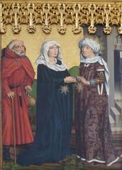 Visitation of the Virgin, Twelve Apostles altar in St James Church in Rothenburg ob der Tauber, Germany
