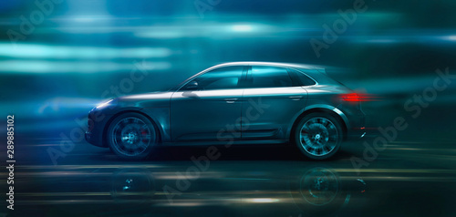 Photo High speed modern SUV in motion (3D Illustration)