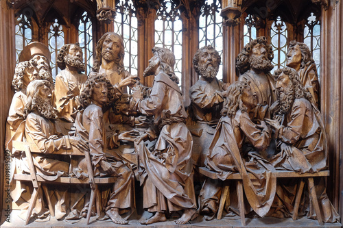 Fotografie, Obraz  Last Supper, altar of the Holy Blood in St James Church in Rothenburg ob der Tau