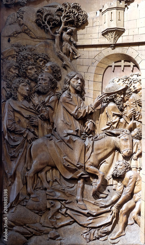 Fotografie, Obraz  Entry of Christ into Jerusalem, altar of the Holy Blood in St James Church in Ro