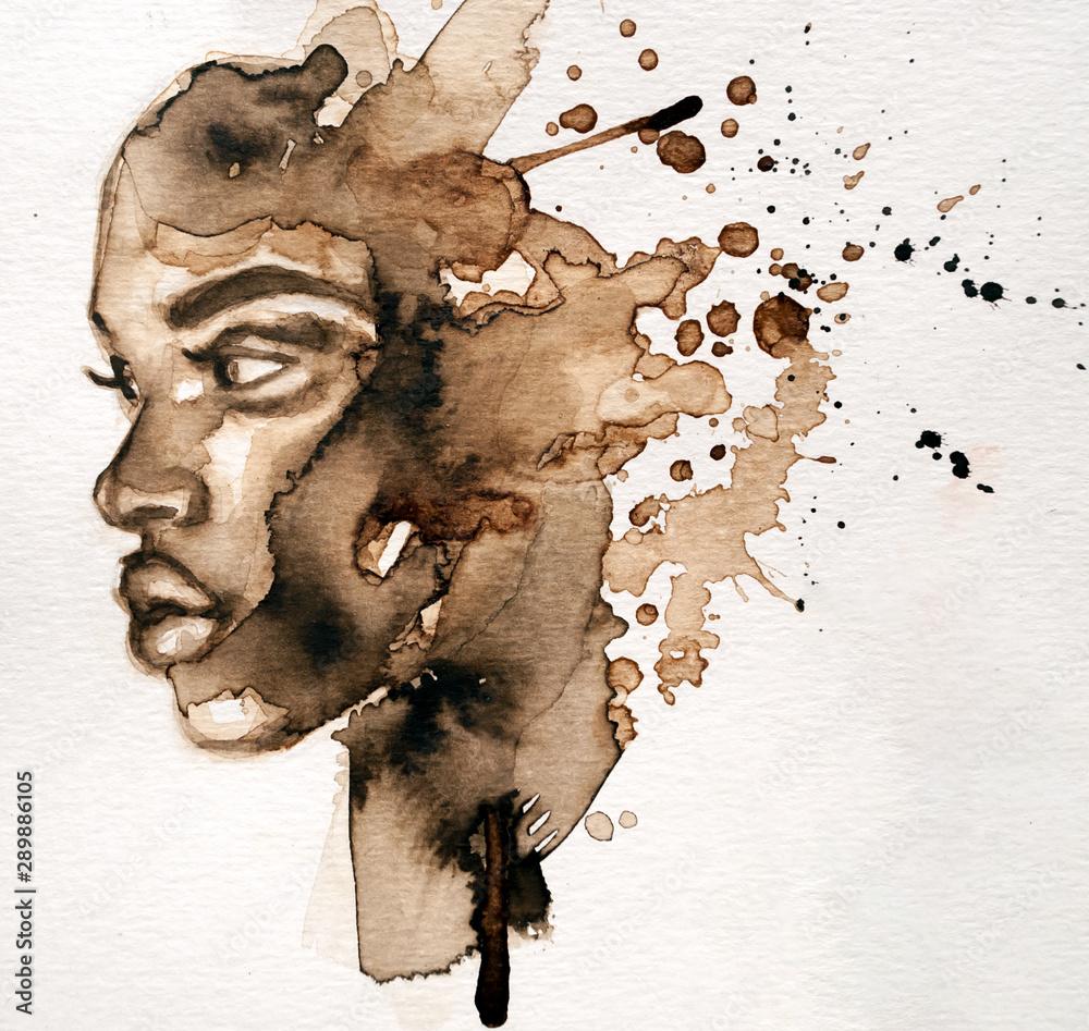 Fototapeta Beautiful African woman portrait in watercolor with splatter