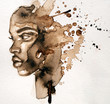 canvas print picture - Beautiful African woman portrait in watercolor with splatter