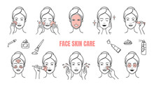 Face Skin Care Icons. Makeup R...