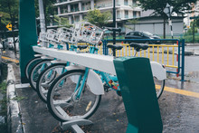 Share Bikes Park In A Row