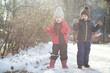 Leinwanddruck Bild Children in winter park play