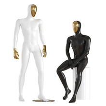 Two Guys Mannequin With A Golden Face In A Standing And Sitting Pose. 3d Rendering