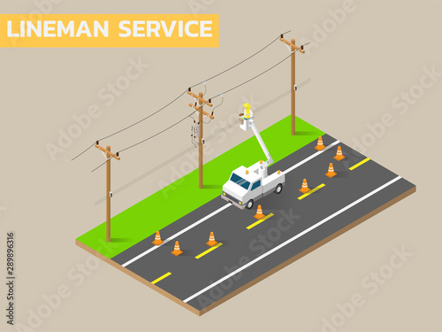 Obraz Linemen repairing electricity distribution lines that supply power to homes. Use aerial device and rubber gloves when working. - fototapety do salonu