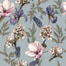 Floral Seamless Pattern With Watercolor Irises, Magnolia, Cherry Blossom And Muscari.