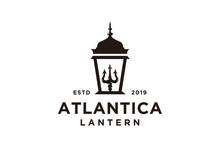 Lantern Post With Trident Logo Design, Street Lamp Vector Design