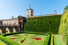 Wide Angle Photo Of Montjuic Castle In Barcelona