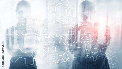 Business technology internet concept double exposure gears abstract background.