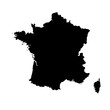 Vector illustration of black silhouette France map.
