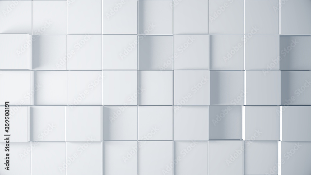 Fototapeta 3d cubes render illustration. Abstract surface background. Clean and corporate style. Mosaic graphic pattern for business template concept.