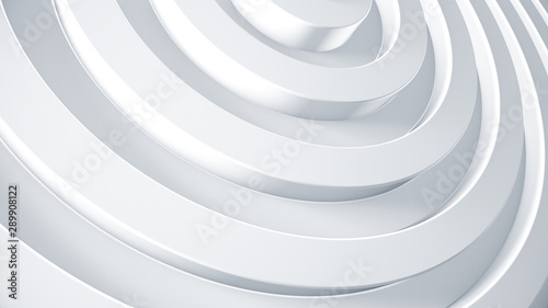 White rings 3d render illustration. Abstract business background for brochure concept. Corporate geometric texture. - 289908122