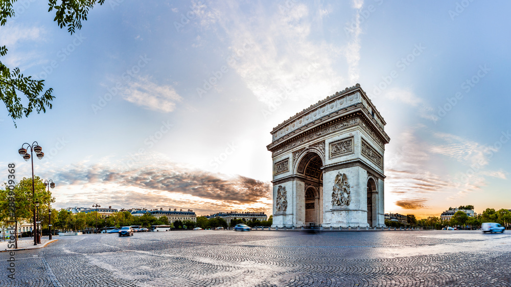 Fototapety, obrazy: Paris Triumphal Arch the Arc de Triomphe de l'Etoile at the western end of the Champs-Elysees at the centre of Place Charles de Gaulle, France. Early morning with nice sunrise light
