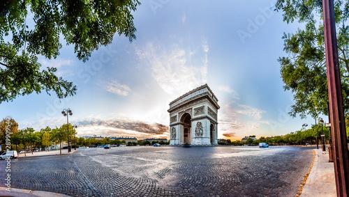 Valokuvatapetti Paris Triumphal Arch the Arc de Triomphe de l'Etoile at the western end of the Champs-Elysees at the centre of Place Charles de Gaulle, France