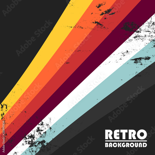 Photographie Retro background with colorful stripes and vintage grunge texture