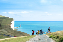 Tourists At Beachy Head Light ...