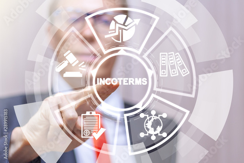 Incoterms Rules Regulations International Trade Freight concept.