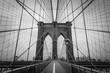Brooklyn Bridge architecture in black and white tone, New York City