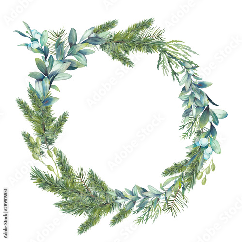 Fotografia  Watercolor Christmas tree and mistletoe wreath