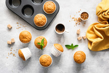 Homemade Delicious Vegetarian Muffins With Brown Sugar On Grey Concrete Background, Flat Lay, Top View