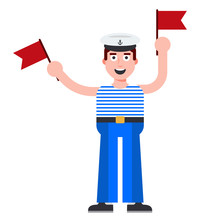 Young Sailor With Flags In His Hands. Coded Message On The Ship. Flat Character Vector Illustration.