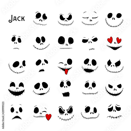 Fototapeta Vector Collection of Halloween Faces. The nightmare before christmas. Jack Skellington. halloween jack faces silhouettes. obraz