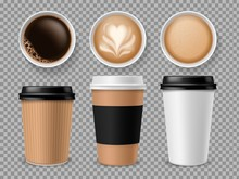 Top View Of Coffee Cup. Espresso And Latte Or Cappuccino In Takeaway Paper Cups Isolated Vector Professional Different Model Set