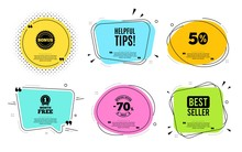Helpful Tips Symbol. Best Seller, Quote Text. Education Faq Sign. Help Assistance. Quotation Bubble. Banner Badge, Texting Quote Boxes. Helpful Tips Text. Coupon Offer. Vector