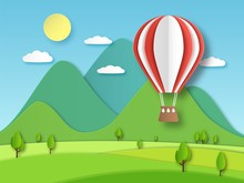 Hot Air Balloon Paper. Origami Art Red Flying Baloon On Background Of Mountain And Trees Cut Vector Illustration